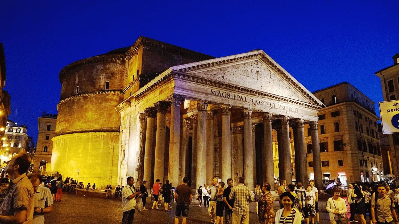 the pantheon at night